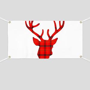Deer Head: Rustic Red Plaid Banner
