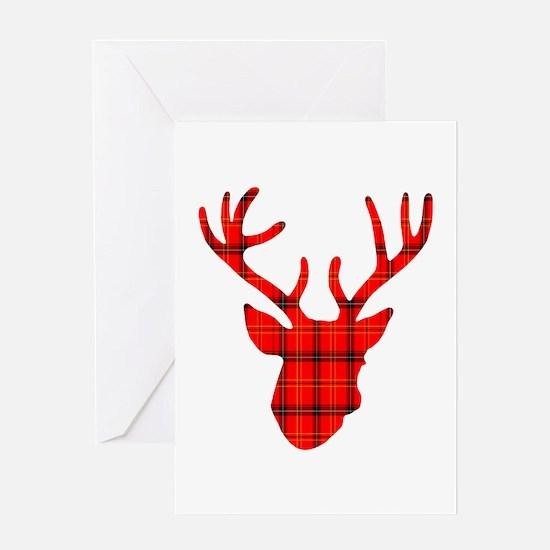 Deer Head: Rustic Red Plaid Greeting Card
