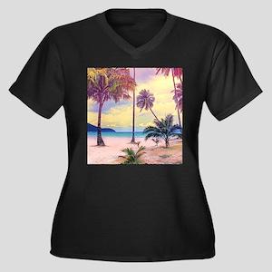 Tropical Bea Women's Plus Size V-Neck Dark T-Shirt