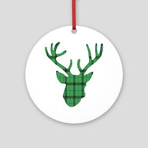 Deer Head: Rustic Green Plaid Round Ornament