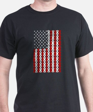 biking american flag bike chain T-Shirt