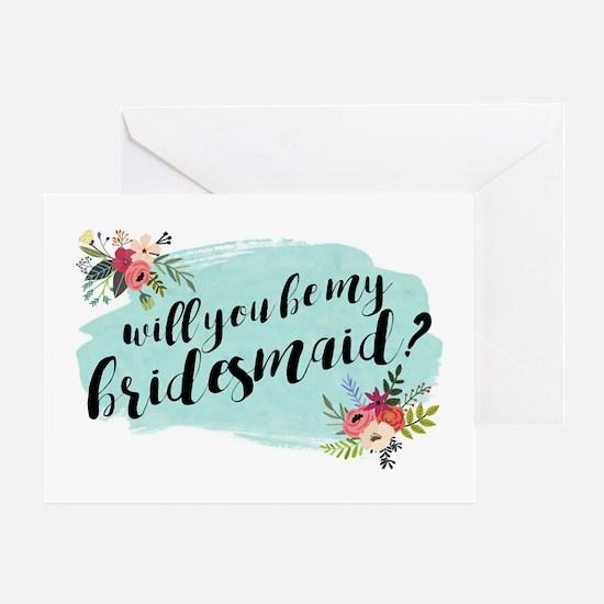 Elegant Floral Watercolor Bridesmaid Greeting Card