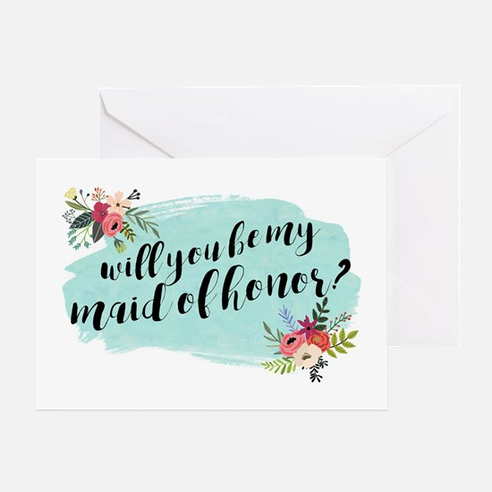 Classy Floral Bouquet Maid of Honor Greeting Cards