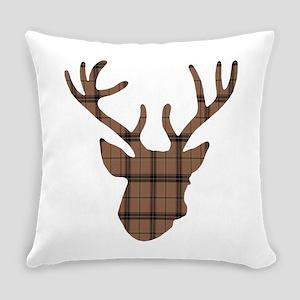Deer Head: Rustic Brown Plaid Everyday Pillow