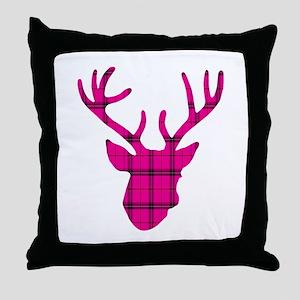 Deer Head: Pink Plaid Throw Pillow