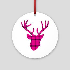 Deer Head: Pink Plaid Round Ornament