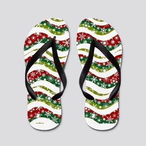 Christmas waves and snowflakes Flip Flops