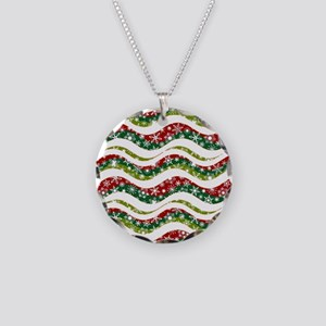Christmas waves and snowflak Necklace Circle Charm
