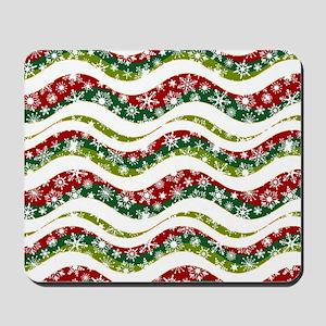 Christmas waves and snowflakes Mousepad