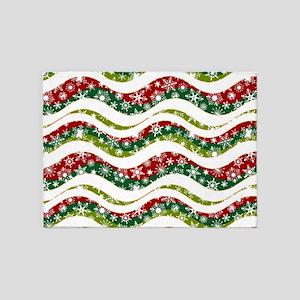 Christmas waves and snowflakes 5'x7'Area Rug