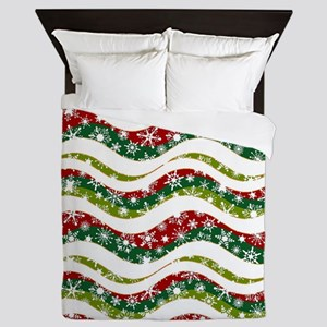 Christmas waves and snowflakes Queen Duvet