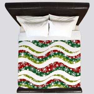 Christmas waves and snowflakes King Duvet