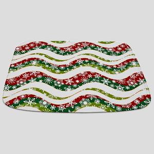 Christmas waves and snowflakes Bathmat