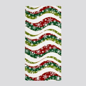 Christmas waves and snowflakes Beach Towel