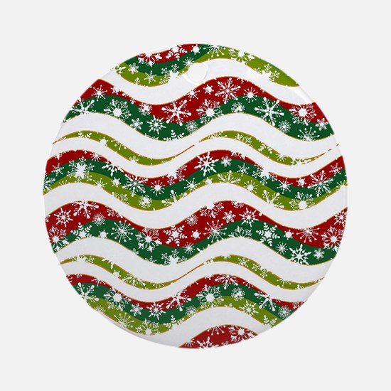 Christmas waves and snowflakes Round Ornament