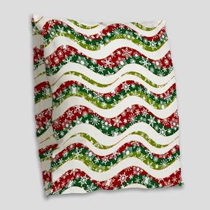 Christmas waves and snowflakes Burlap Throw Pillow