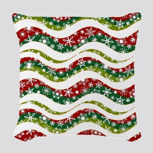 Christmas waves and snowflakes Woven Throw Pillow