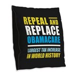 Repeal And Replace Obamacare Burlap Throw Pillow
