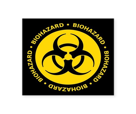 Yellow biohazard warning sticker