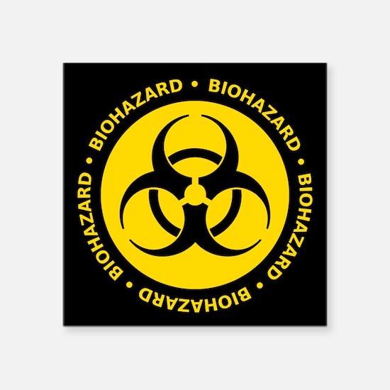 Yellow biohazard warning sticker