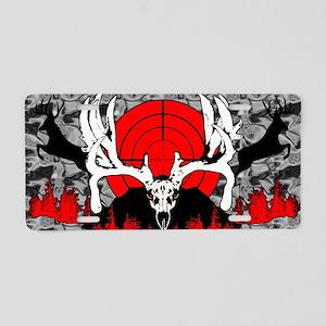 Monster buck skull red Aluminum License Plate