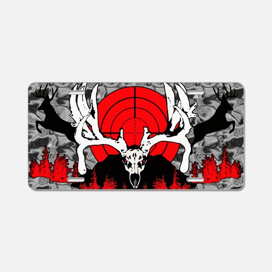 Monster buck skull red Aluminum License Plate
