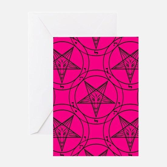 pink baphomet Greeting Cards