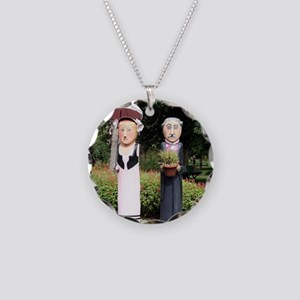 Old married couple sculpture Necklace Circle Charm