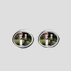 Old married couple sculptures Oval Cufflinks