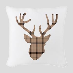 Deer Head: Rustic Beige Plaid Woven Throw Pillow