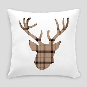 Deer Head: Rustic Beige Plaid Everyday Pillow