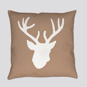 Deer Head: Rustic Beige Everyday Pillow