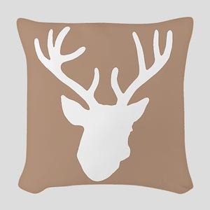 Deer Head: Rustic Beige Woven Throw Pillow