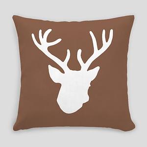 Deer Head: Rustic Brown Everyday Pillow