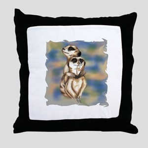 meerkat hugs Throw Pillow