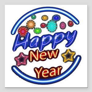 """Happy New Year Neon Square Car Magnet 3"""" X 3&"""