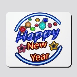 Happy New Year Neon Mousepad