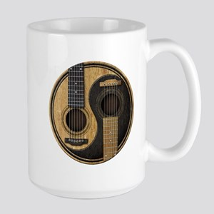 Old and Worn Acoustic Guitars Yin Yang Mugs