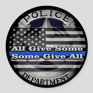 Thin Blue Line Round Car Magnet
