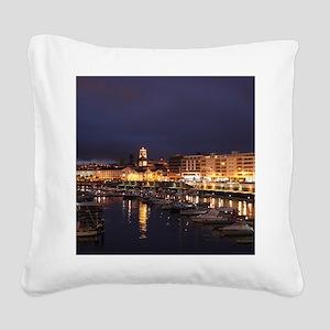 Ponta Delgada at night Square Canvas Pillow