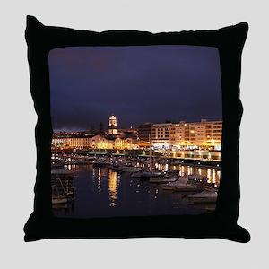 Ponta Delgada at night Throw Pillow