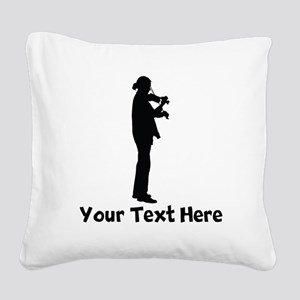 Violinist Silhouette Square Canvas Pillow