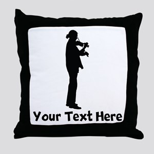 Violinist Silhouette Throw Pillow