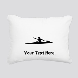 Kayaker Silhouette Rectangular Canvas Pillow