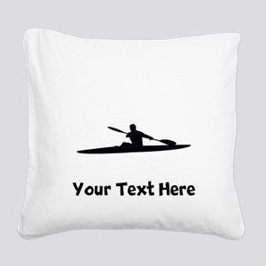 Kayaker Silhouette Square Canvas Pillow
