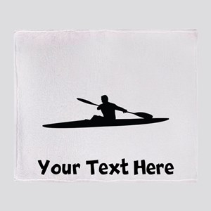 Kayaker Silhouette Throw Blanket