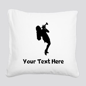 Trumpet Player Silhouette Square Canvas Pillow