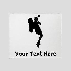 Trumpet Player Silhouette Throw Blanket
