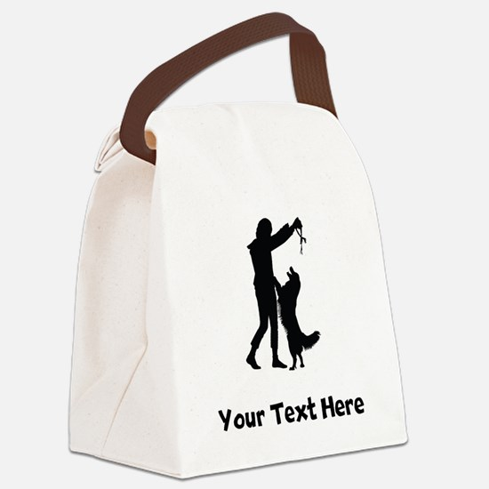 Dog Trainer Silhouette Canvas Lunch Bag