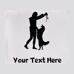 Dog Trainer Silhouette Throw Blanket
